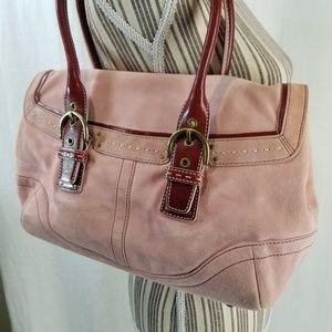 Authentic Coach Pink Suede Shoulder Bag